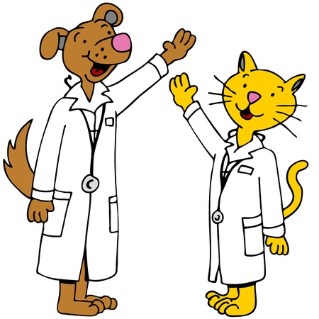 An image of cat and dog doctors with arms raised.