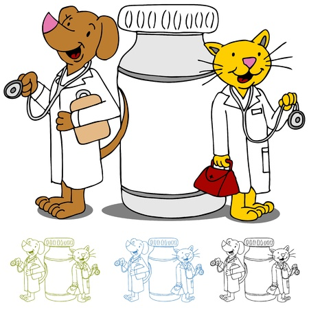 An image of cat and dog doctors next to a bottle of medicine. Vector