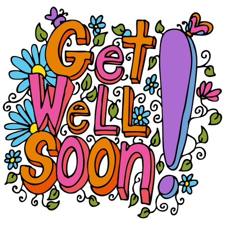 An image of a get well soon floral design drawing.  Vector