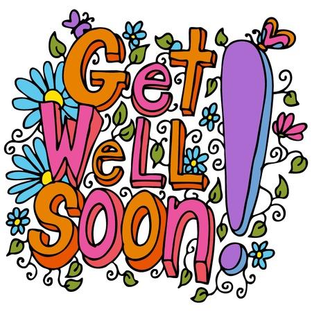 soon: Een beeld van een get well soon floral design tekenen. Stock Illustratie