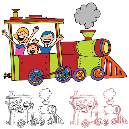 An image of children riding on a train. Vectores