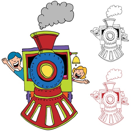 An image of children riding on a train. Illustration