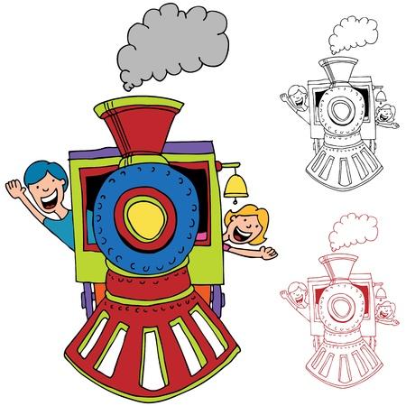 tren caricatura: Una imagen del niño montado en un tren.