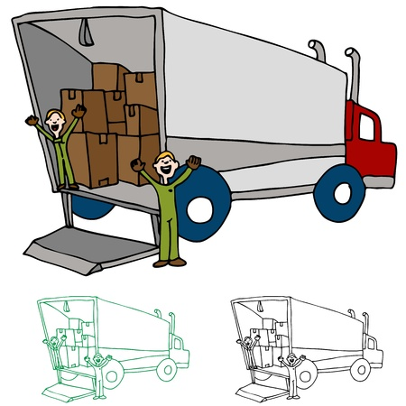 An image of a moving truck with workers. Vector