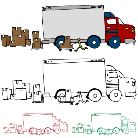 Een afbeelding van een rijdende vrachtwagen profiel te bekijken. Stock Illustratie