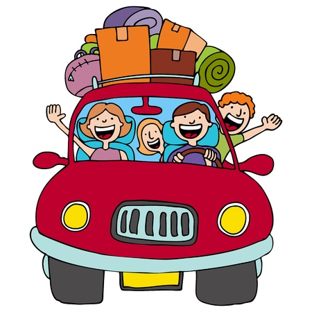 An image of a family driving in their car with luggage on top. Illustration