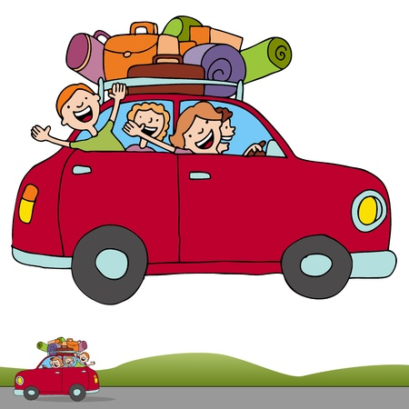 relocation: An image of a family on a road trip with a horizontal banner.