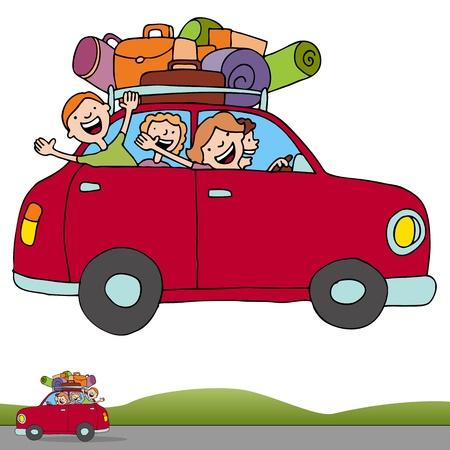 arte callejero: Una imagen de una familia en un viaje por carretera con una pancarta horizontal. Vectores