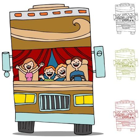 Een beeld van een familie op een road trip in een camper recreatief voertuig. Stock Illustratie