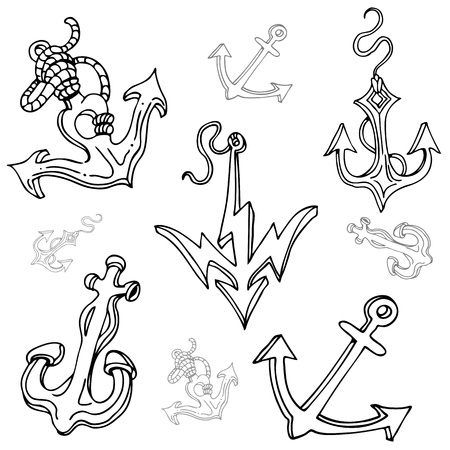 ship anchor: An image of a boat anchor drawing set.