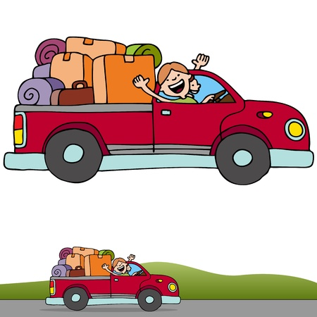 pickup truck: An image of a people riding in a pickup truck with luggage and boxes. Illustration