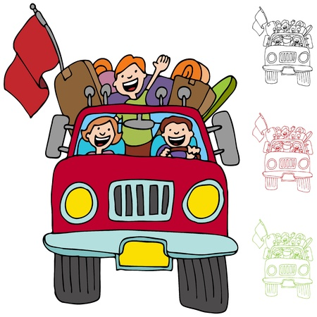 relocate: An image of a family riding in a pickup truck with luggage and boxes.