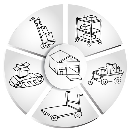 hand cart: Una imagen de un cuadro de env�o gr�fico de fabricaci�n. Vectores