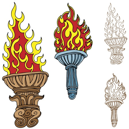 An image of burning torch drawings. Stock Vector - 10302341