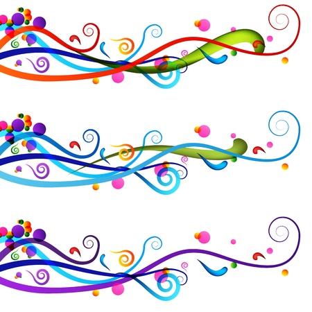 horizontal lines: Una imagen de un conjunto de banner colorida celebraci�n festiva.
