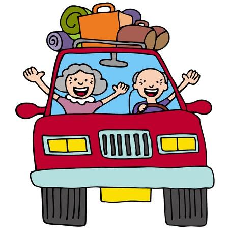 driving a car: Una imagen de una pareja senior en un coche con maletas y cajas.