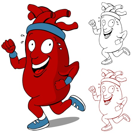 An image of a healthy heart running cartoon character. 向量圖像