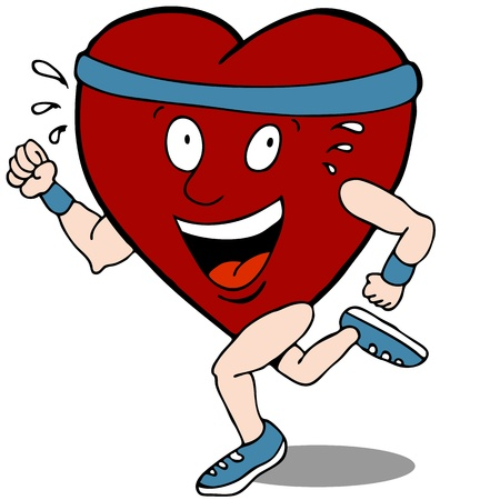 exercise cartoon: An image of a healthy heart shaped character running.