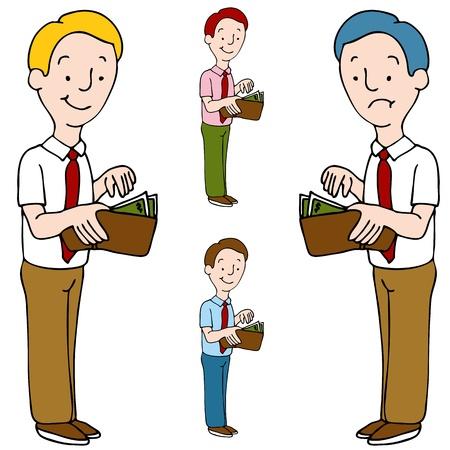 Una imagen de un hombre abrir su billetera. Ilustración de vector