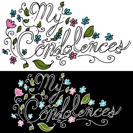 condolence: An image of a My Condolences floral message. Illustration