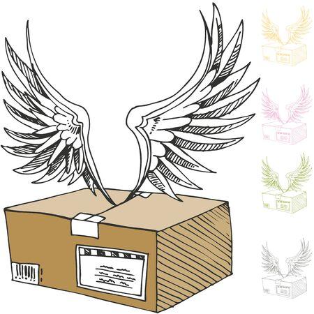 Een beeld van een lucht-mailpakket met engelenvleugels.