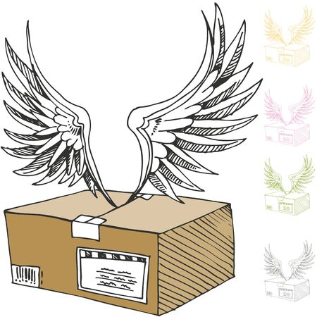 An image of an air mail package with angel wings.
