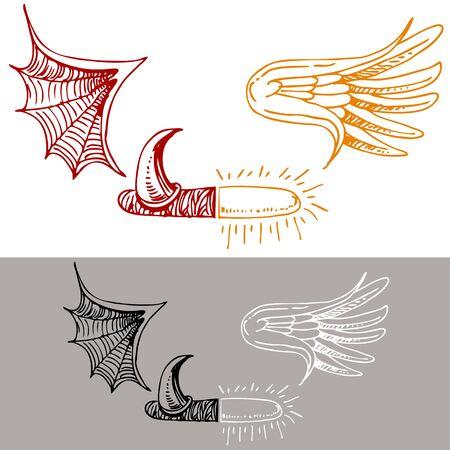半分のイメージの天使と悪魔を描きます。