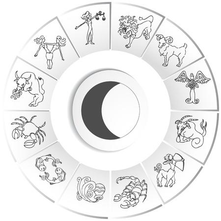 capricornio: Una imagen de un conjunto de dibujos de zodiac. Vectores