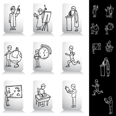 educacion fisica: Establece una imagen de un estudiante de educaci�n de dibujo. Vectores