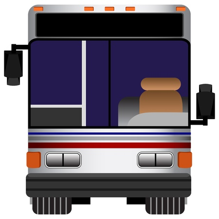 An image of the front view of a bus. Vector