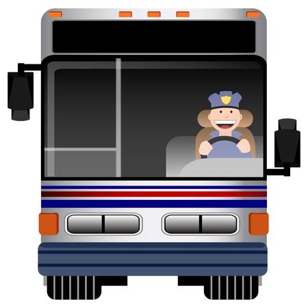 oorkonde: Een beeld van het vooraanzicht van een bus met chauffeur.