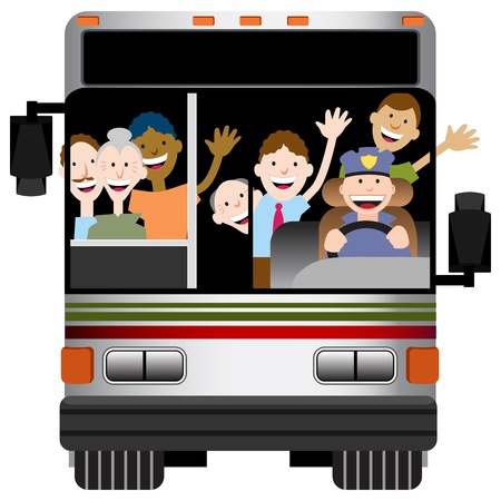 tour guide: An image of the front view of a bus with driver and passengers