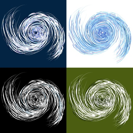 An image of a set of hurricane drawings. Illustration