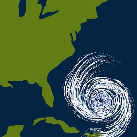 アメリカ合衆国の東海岸の沖のハリケーンのイメージ。