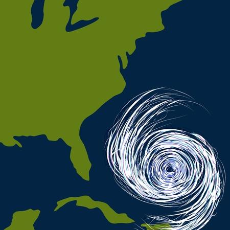 Een beeld van een orkaan voor de oostkust van de Verenigde Staten.