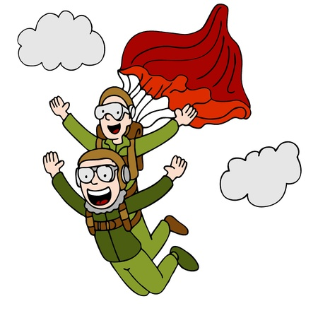 Een beeld van een volk het doen van een tandem sky dive.