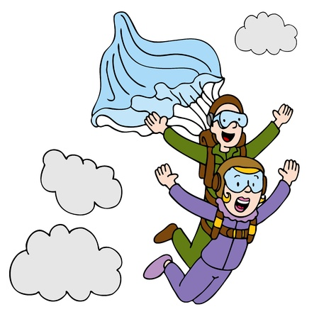 An image of a woman doing a tandem sky dive. Vector