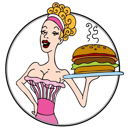 An image of an old fashioned diner waitress serving a hamburger. Vector