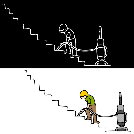 An image of a man vacuuming the stairs.