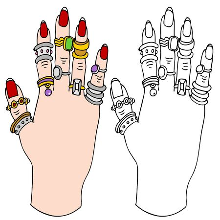 nails: An image of a female hand with many rings of jewlery.