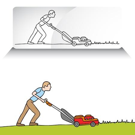 Een beeld van een man die het gras maaien met een grasmaaier.