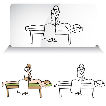 man lying down: An image of a chiropractor treating a patient. Illustration