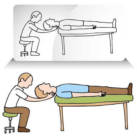 treating: An image of a chiropractor treating a patient. Illustration