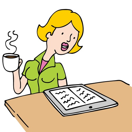An image of a woman reading a ebook and drinking coffee at a table. Vector
