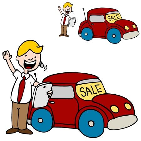 Une image d'un vendeur de voitures usinghis tablette numérique.