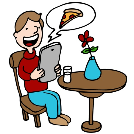 An image of a man ordering pizza with his digital device at a restaurant. 일러스트
