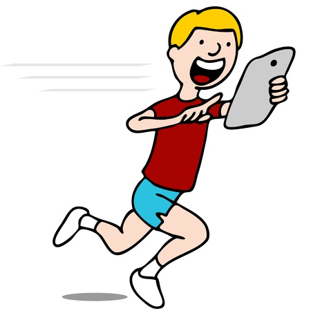 device: An image of a runner using his digital tablet device.
