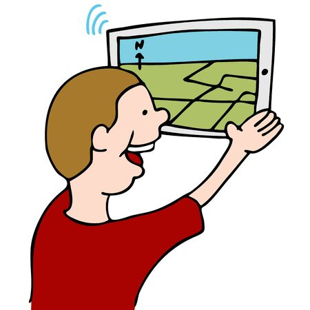 using tablet: An image of a man using street map navigation on his digital tablet device. Illustration