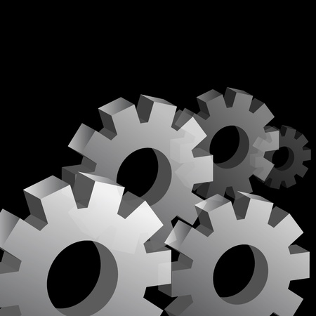 An image of a cog wheels on a black background.