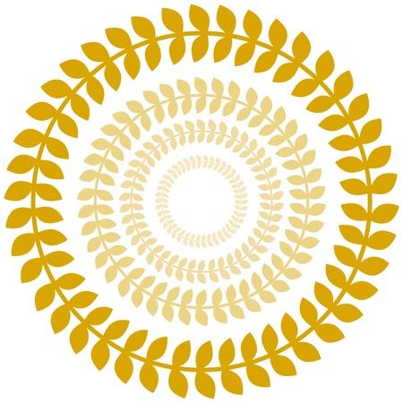 An image of a gold laurel wreath circle set.
